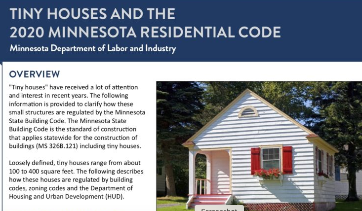 Tiny Houses And The 2020 Minnesota Residential Code